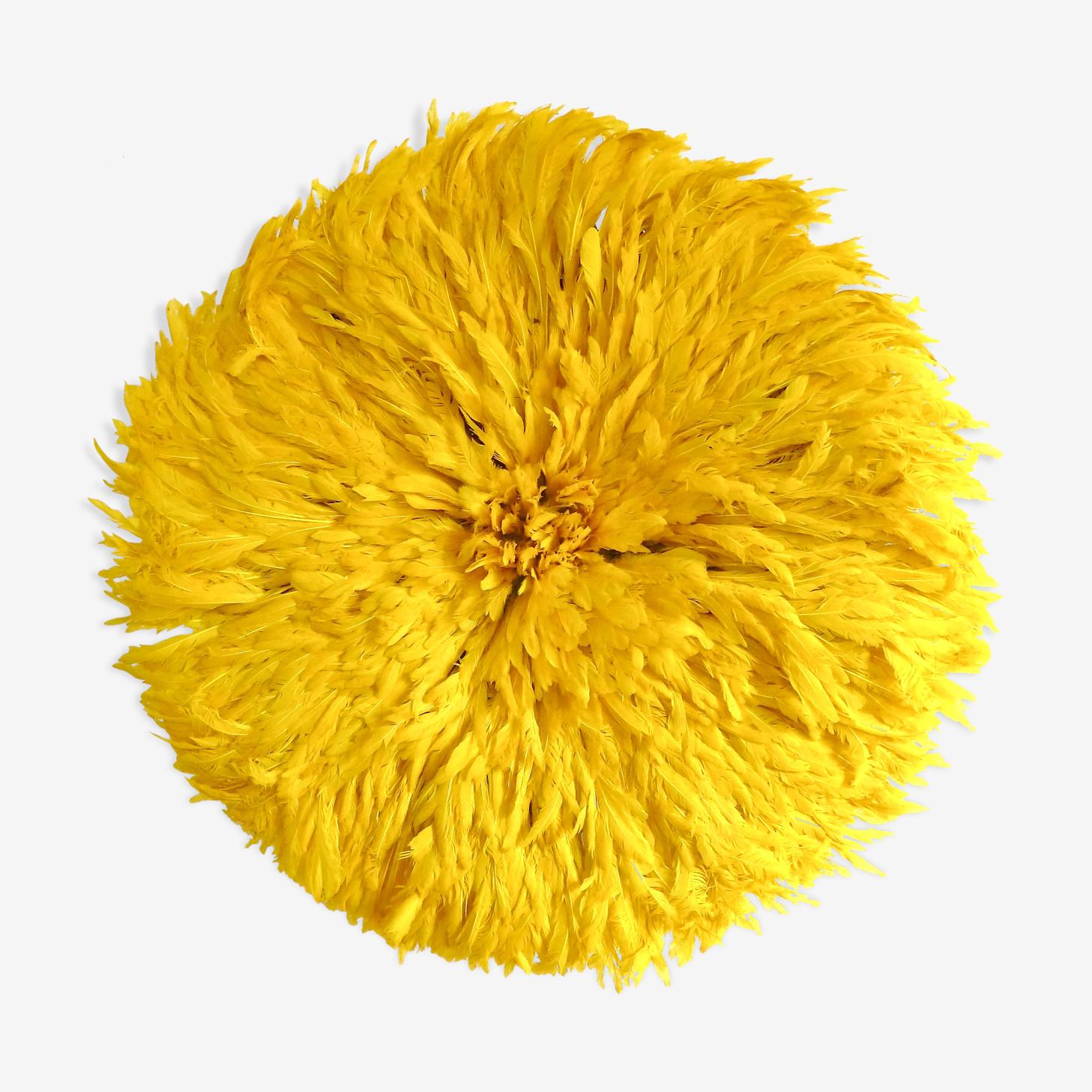 Juju hat coiffe traditionnelle en plumes et raphia  bamiléké  cameroun 71 cm diamètre