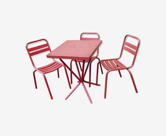 Salon de jardin tolix - fer - rouge - industriel - vD4vmZJ