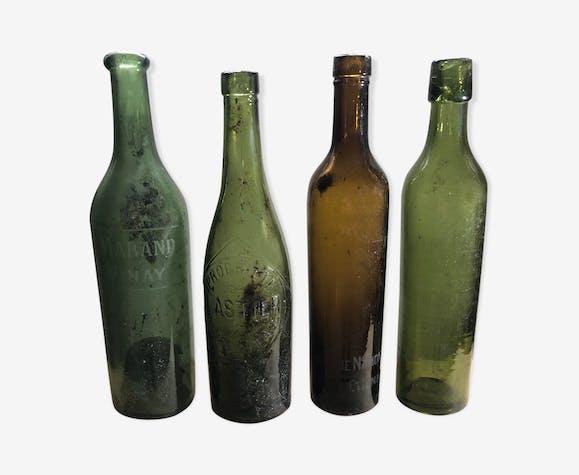 Lot de bouteilles de bière anciennes en verre soufflé avec