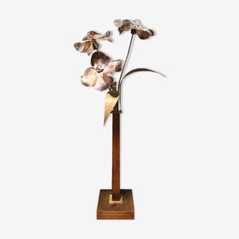 Floor lamp in bronze and Pearl by Willy Daro Belgium 1970 s