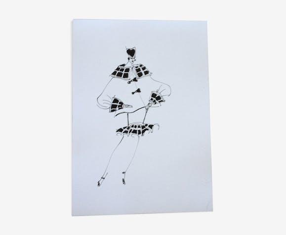 """Illustration vintage de mode """"Louis Feraud"""" - années 80/90"""