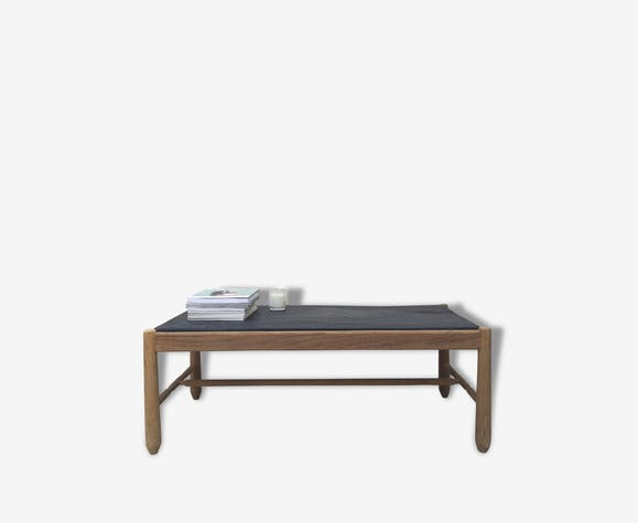 table basse ch ne et plateau ardoise 1950 bois mat riau marron design 21460. Black Bedroom Furniture Sets. Home Design Ideas