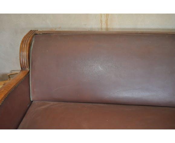 Canapé lit années 50 skaï marron