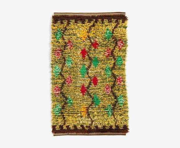 Scandinavian 20th century vintage rya rug. 97 x 60 cm (38.19 x 23.62 in).