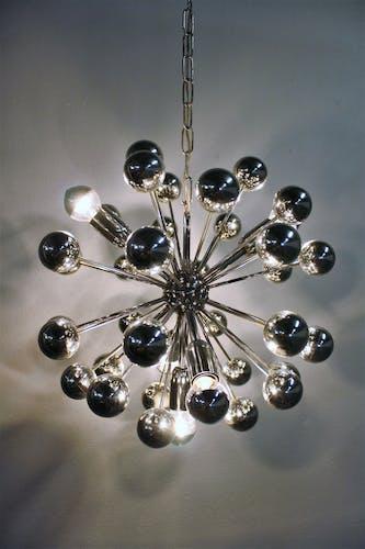 Chandelier spoutnik chrome vintage 1960 s