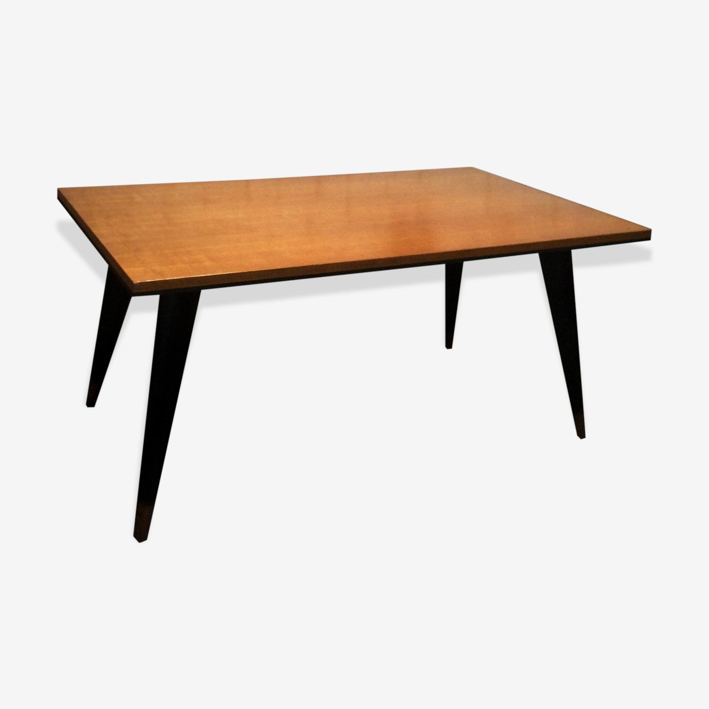 Table scandinave vintage des années 50 à pieds compas bois et noir revisité