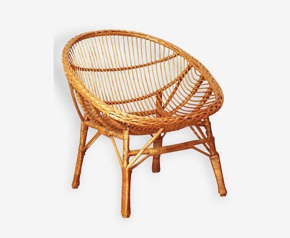 Très beau fauteuil rotin vintage