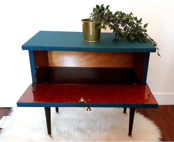 Table de chevet bleu vintage 60s