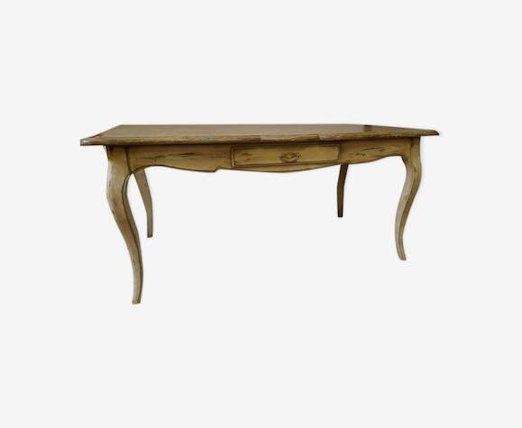 Table bureau style Louis XV provençale en bois laqué