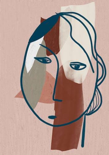 """Illustration """"Slightly Sad Head"""""""