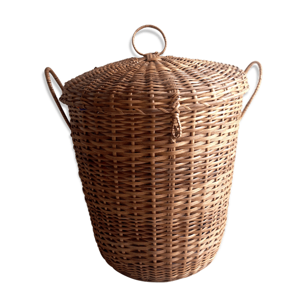 Vintage Wicker Laundry Basket Rattan And Wooden Bnxsj1p