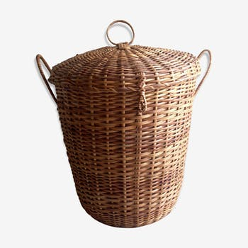 Vintage wicker laundry basket