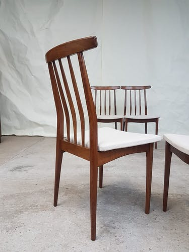 Set of 4 A. Younger teak & afrormosia heals restored dining chairs