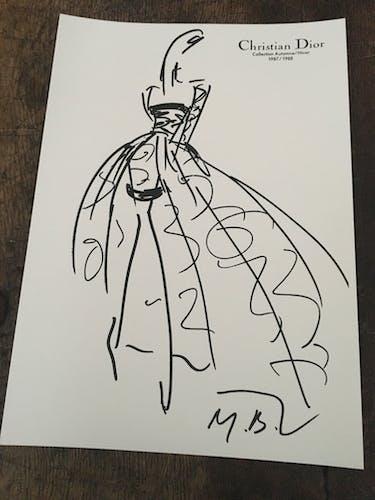 Christian Dior, illustration de mode de presse collection 1987-1988
