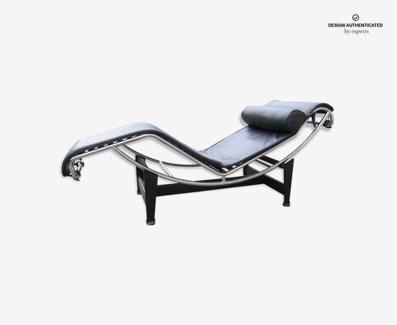 Chaise longue LC4 Le Corbusier Cina - leather - black - design ... on chaise recliner chair, chaise furniture, chaise sofa sleeper,