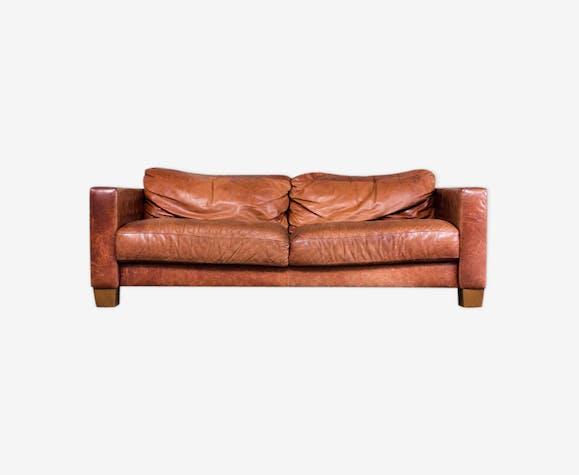 canap cuir industriel brun cognac cuir marron. Black Bedroom Furniture Sets. Home Design Ideas