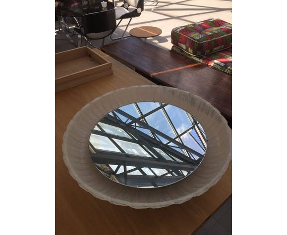 Miroir rond Hillebrand avec rétro-éclairage 60 cm 1970
