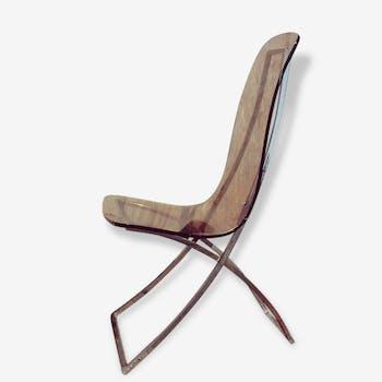 Smoked plexiglas Edmond Vernassa 1970 Chair