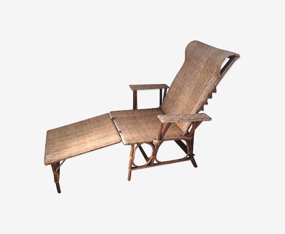 chaise longue rotin vintage rotin et osier bois. Black Bedroom Furniture Sets. Home Design Ideas