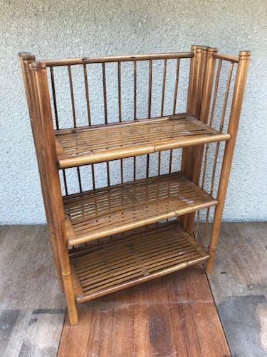 Old folding bamboo shelf