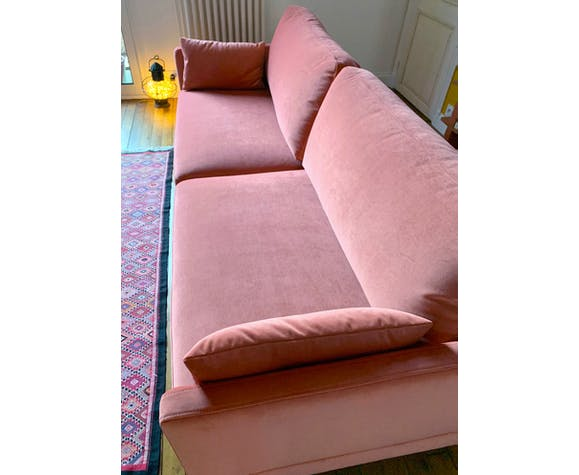 Canapé velours rose