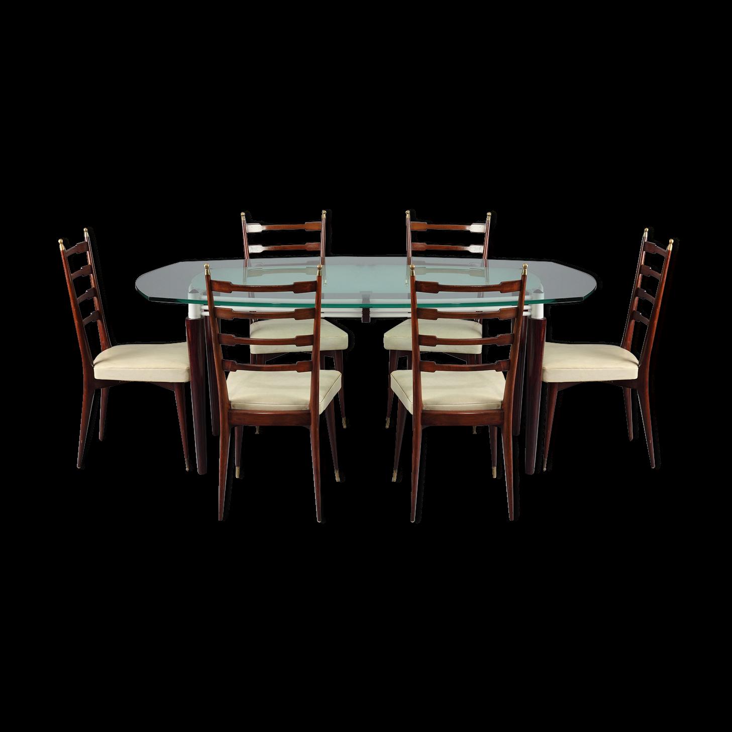 Beau Ensemble De Salle à Manger Table Et 6 Chaises En Acajou