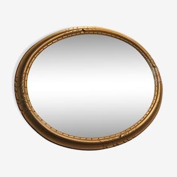 Golden wood oval mirror  67x47cm
