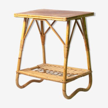 Table de chevet vintage 60 osier et rotin