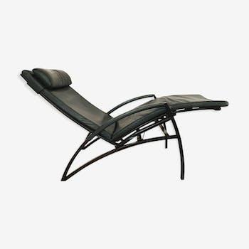 Chaise de détente en cuir moderniste vintage