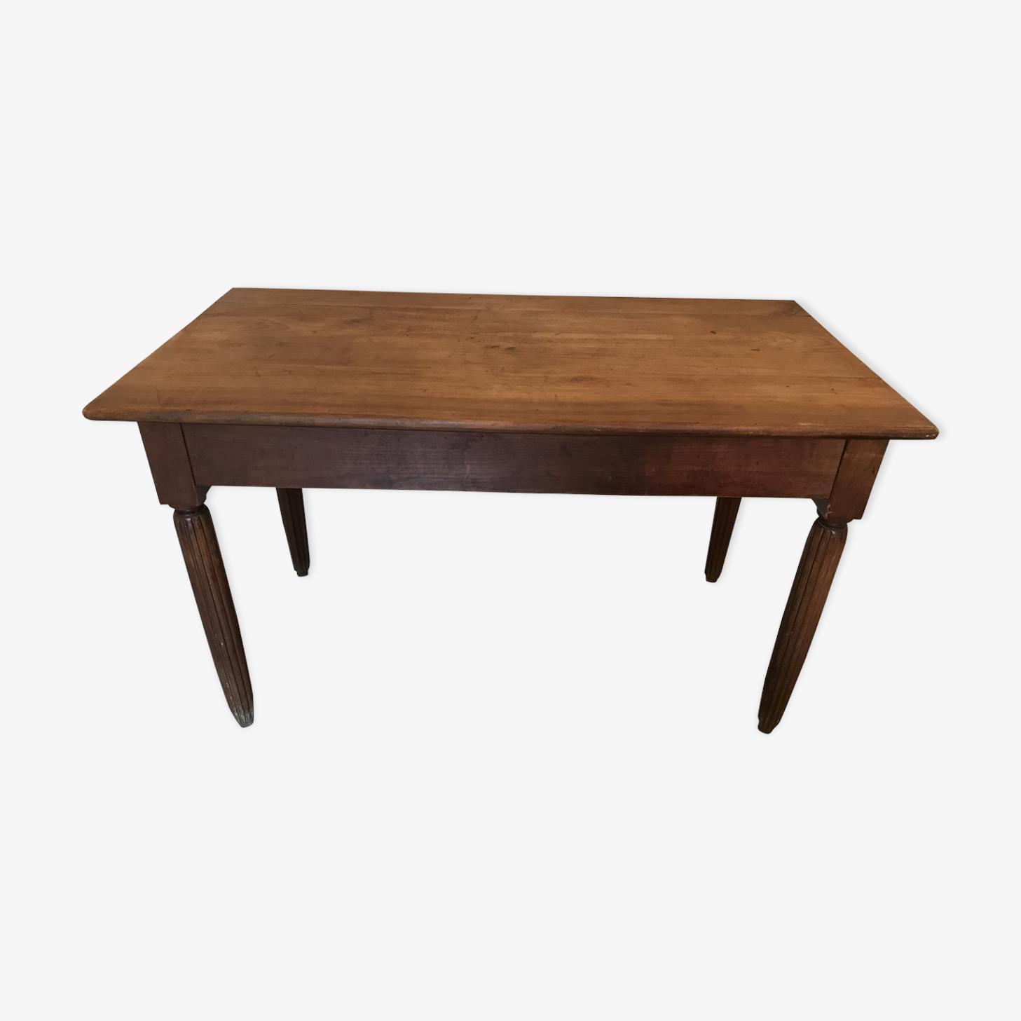 Table bistrot vintage 1940-50 en noyer blond