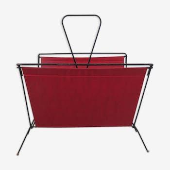 Porte-revues skaï rouge typique années 50-60