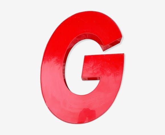 Lettre g en plexiglas rouge - plexiglas - rouge - vintage - jVS902f