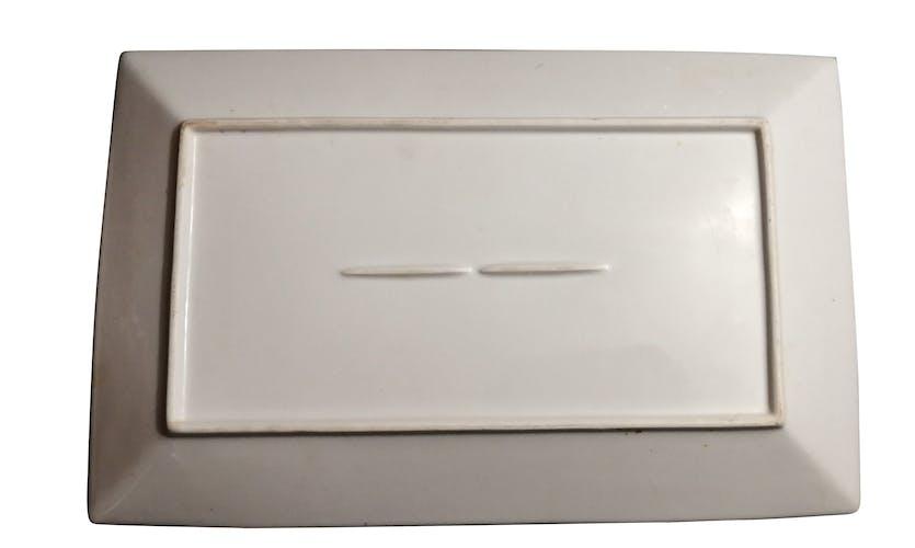 Plat de service rectangulaire en céramique blanche