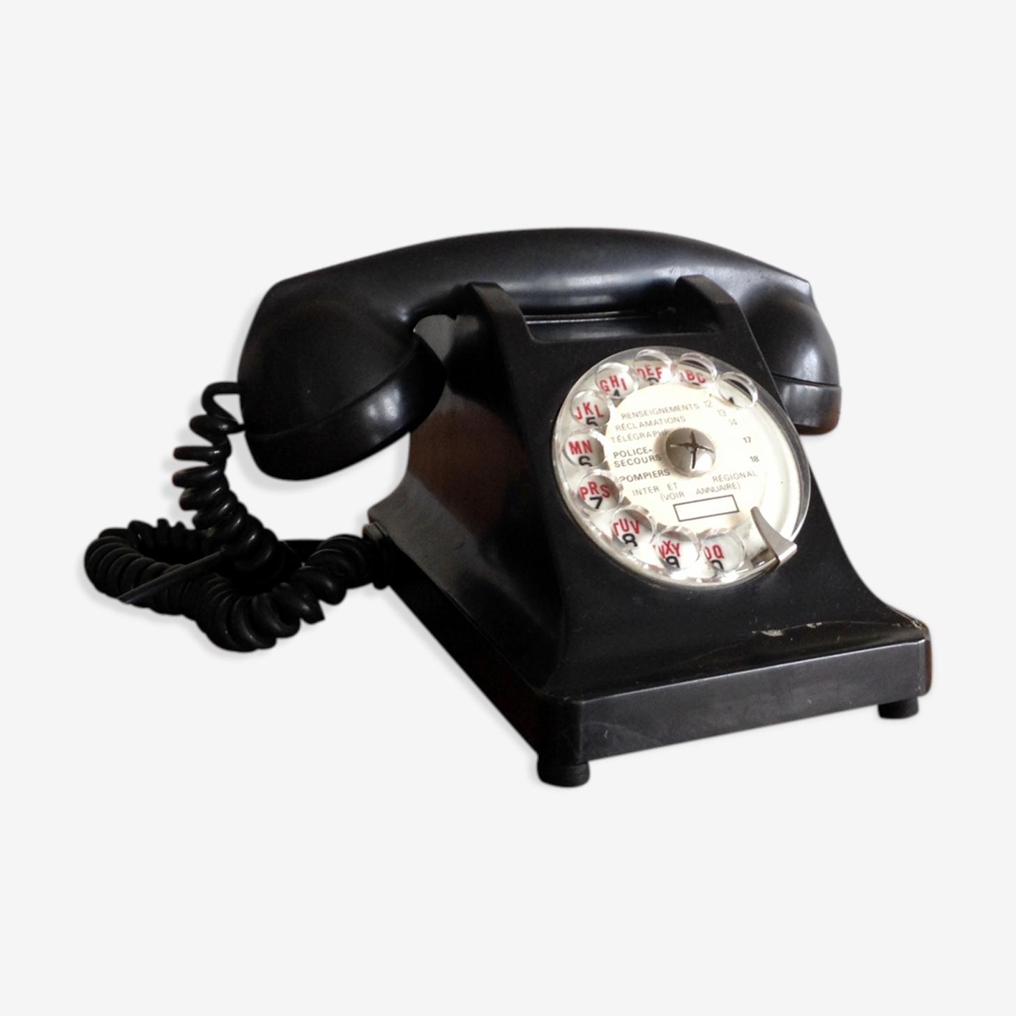 Téléphone en bakélite noir