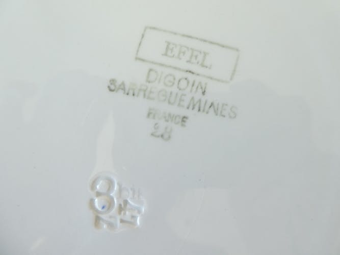 Lot de 2 plats rond Digoin Sarreguemines modèle Efel