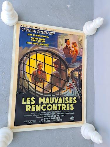 Ancienne affiche de cinéma entoilee 120x160 les mauvaises rencontres