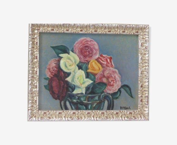 Tableau composition floral signé Hybac