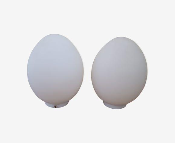 Pair of lamps egg glassware Vianne glass milky