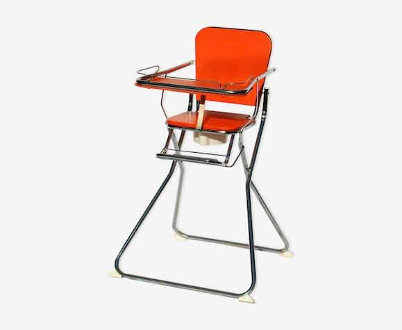 Chaise Haute Vintage 70 En Formica Orange