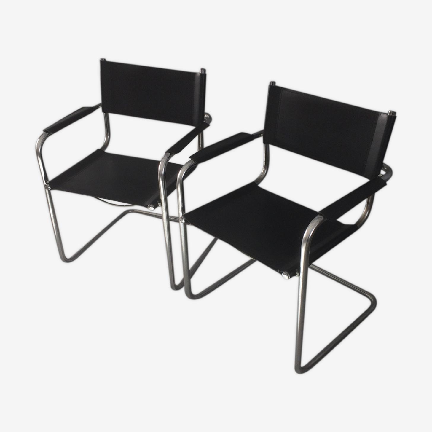 Paire de chaises chassis suspendu chromées/noires