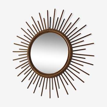Rattan sun mirror 52cm vintage 1960