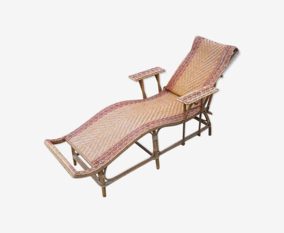 Wooden Wicker Rattan Chaise Longue 1900 Classic And EH2WD9YI
