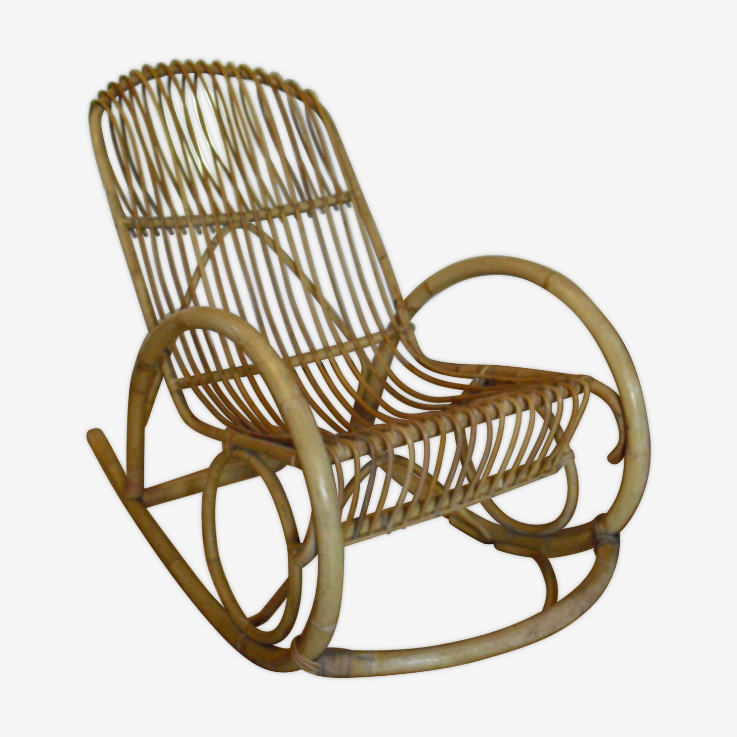 Rocking chair rotin et bambou sixties