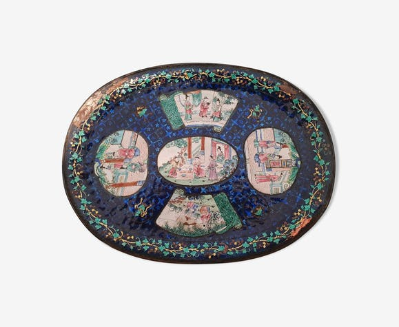 Tray rare Asian 19th century enamels