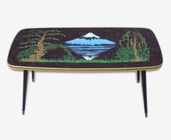 Grande Table Basse Dessu Mirroir Vintage Mont Fuji
