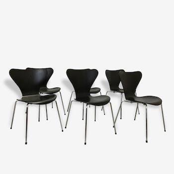 Set of 6 chairs arne jacobsen for fritz hansen series 7 butterfly