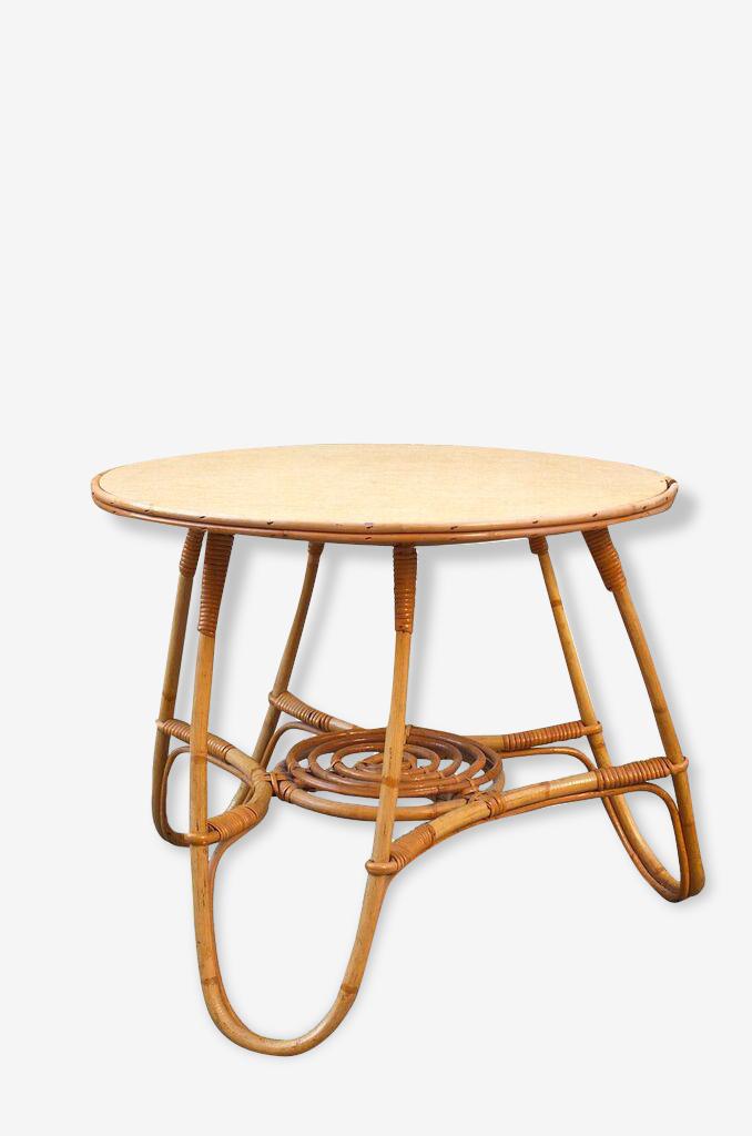 Table tripode en bambou et rotin