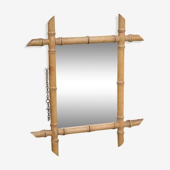 Miroir de barbier bambou dans le style des années 30 31x24cm