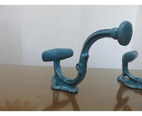 Pair of blue enamelled cast iron pads art deco 30/40