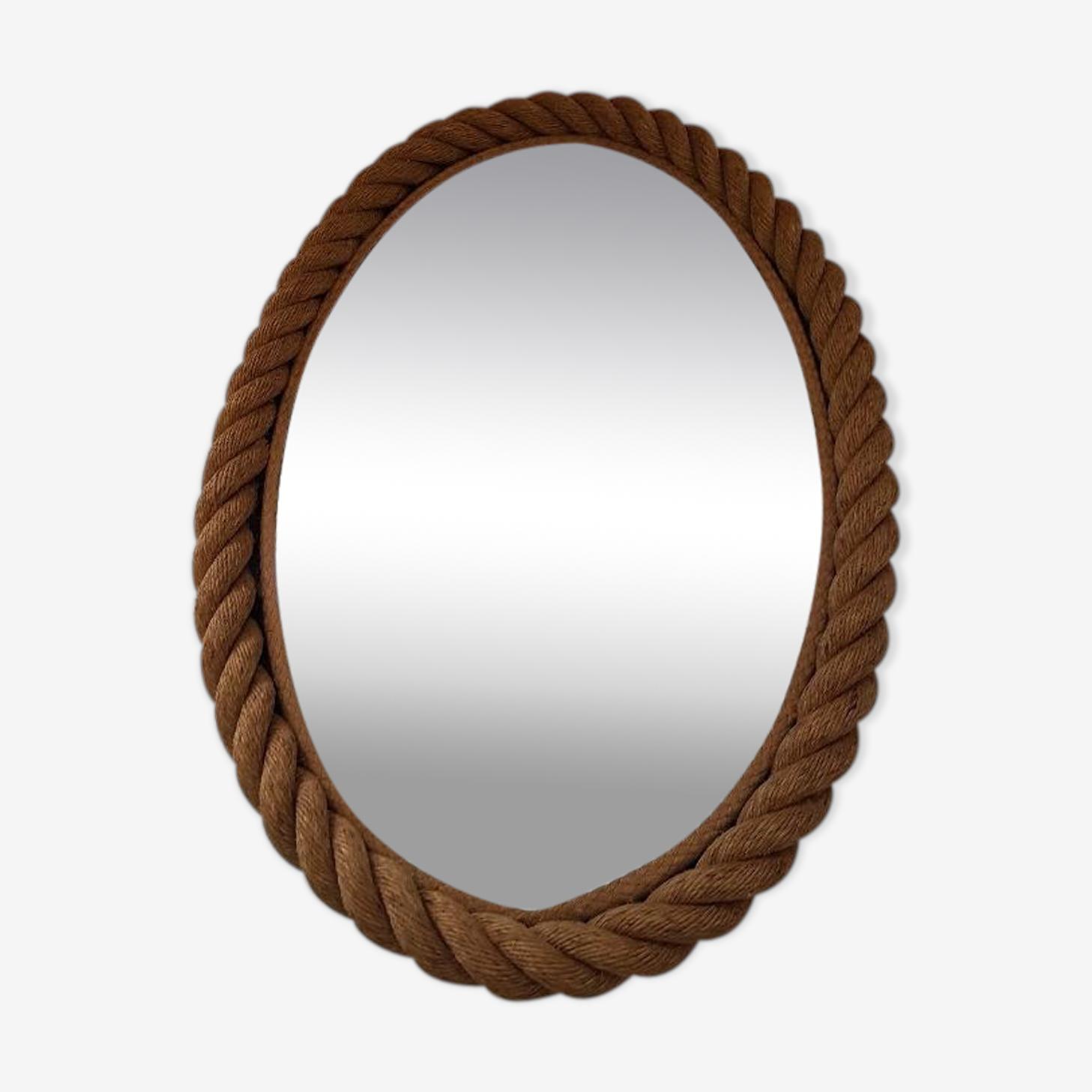 Miroir ovale en corde années 50, 49x70cm